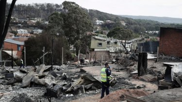 Tathra after fire swept through the town.