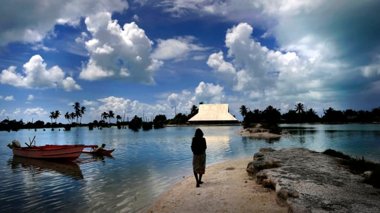 Climate Change and rising sea levels in Kiribati Islands in the Pacific Ocean.