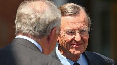 Liberal figures Hugh Morgan and Rod Kemp in 2014.