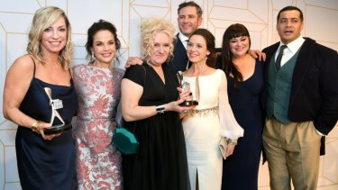 The cast of Wentworth with their Logies for most popular drama and most outstanding drama earlier this month.