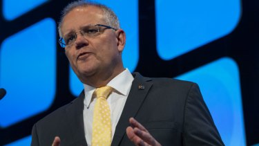 Prime Minister Scott Morrison speaking at the AFR business summit in Sydney on Tuesday.