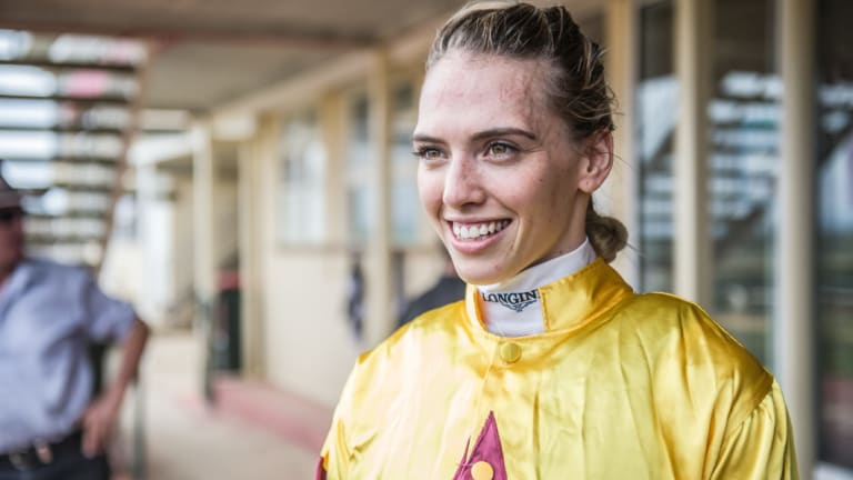 Kayla Nisbet won aboard Stratum's Rose, which her father John trains, at Canberra on Friday.
