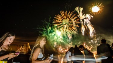 Fireworks entertain a large crowd at Regatta Point for Skyfire 2018.