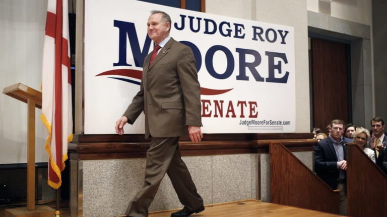 Roy Moore, a Republican from Alabama, walks onstage during an election night party in Montgomery, Alabama, last year. He lost.