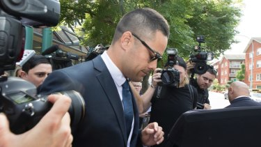 Embattled NRL star Jarryd Hayne leaves Burwood Local Court after his first appearance (committal) on aggravated sexual assault charge, 10 December 2019. Photo: Jessica Hromas