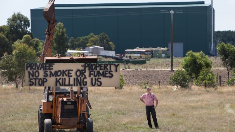 Fiskville farmer Neville Callow pictured in 2015 on his farm, next door to the former CFA training college. He has since reached a settlement with the CFA, which has bought his farm.