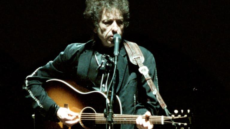 Bob Dylan live at Centennial Park in Sydney.