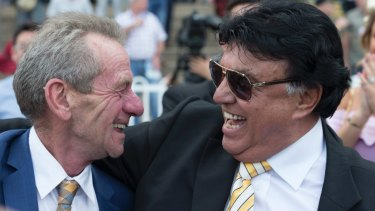 High flyers: Gerald Ryan and owner Bert Vieira celebrate.