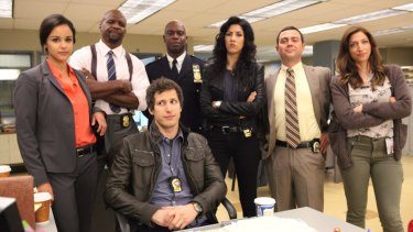 Crews, second from left, is a star on hit show Brooklyn Nine-Nine.