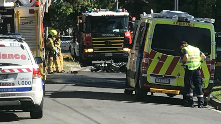 Emergency services at the scene of the crash in Mitcham.