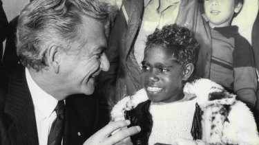 Bob Hawke meeting Sandra Djunjil, 8, visiting Parliament House in Canberra in 1985 as part of a school excursion. Mr Hawke said that he would like a jacket like hers.