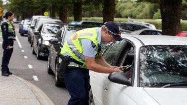 Police breath testing in Warnambool, Victoria.