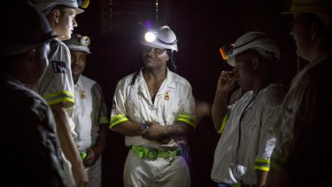 Rescue workers prepare to rescue more than 900 miners from the Sibanye-Stillwater's Beatrix mine in South Africa in February.