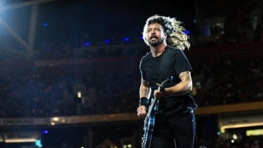 Dave Grohl on stage earlier this year at Suncorp Stadium.