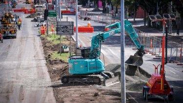 Redevelopment works underway on Hoddle Street.