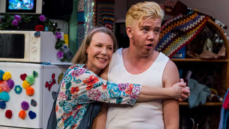 Harvey Zielinski (right) with actress Belinda McClory in the stage play Hir.