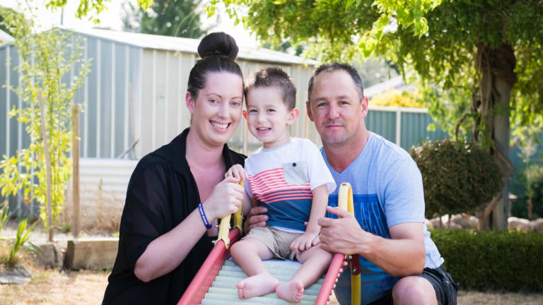 Naomi Taylor and Ben McLennan with their son William McLennan, 2.