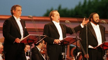 Shot to fame: Placido Domingo (far left), Jose Carreras and Luciano Pavarotti as The Three Tenors in Paris in 1988.