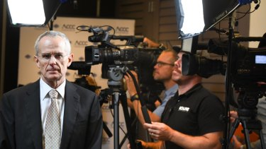 ACCC chair Rod Sims at the press conference on Monday.