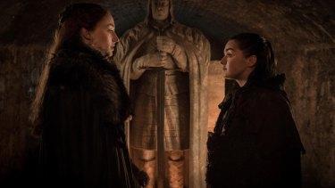 Sansa (Sophie Turner) and Arya (Maisie Williams) in Game of Thrones.
