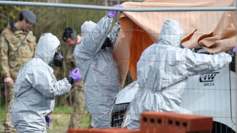 Soldiers wearing protective clothing as part of the investigation into the nerve agent attack on Russian double agent Sergei Skripal.