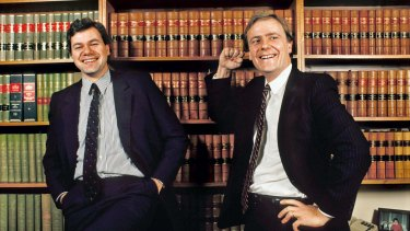 Victorian Liberal Party president Michael Kroger and the candidate for Higgins, Peter Costello, in 1989.