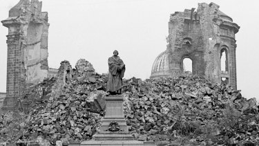 The Frauenkirche in Dresden in 1967. It was bombed by the Allies in World War II and deliberately left in ruins until after the reunification of Germany.
