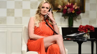 "Stormy Daniels during an appearance on ""Saturday Night Live"" in New York."