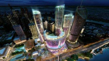 An artist impression of the casino proposed for Brisbane.