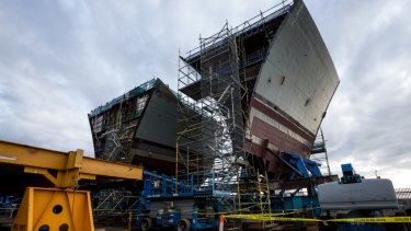 An air warfare destroyer stands under construction at the ASC Ltd. shipyard in Adelaide in 2016.