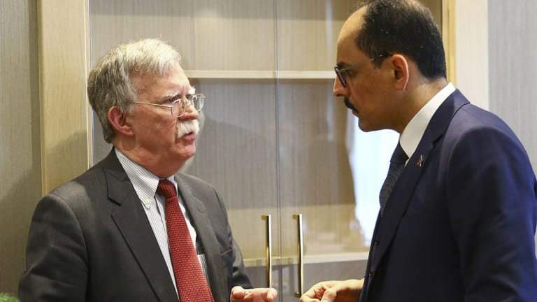 US national security adviser John Bolton, left, and his Turkish counterpar, Ibrahim Kalin.