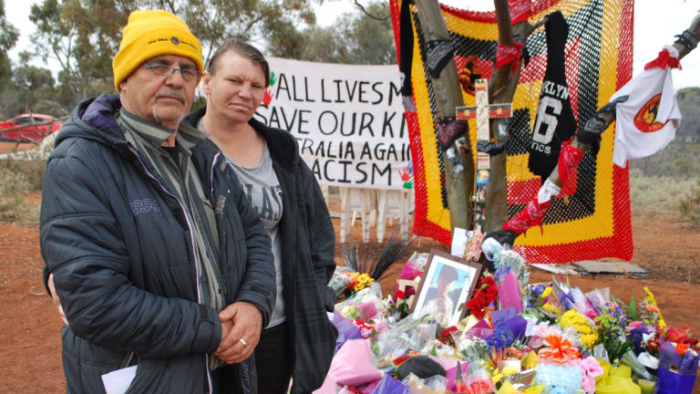 Albert Doughty (grandfather) and Sophia Doughty (cousin) at Elijah Doughty's memorial site.