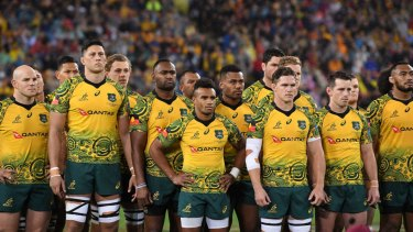 The Wallabies wearing the Indigenous jersey for the first time in Brisbane last year.