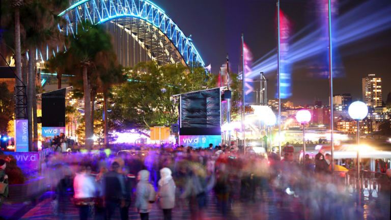 The crowds at Circular Quay for this year's Vivid festival.