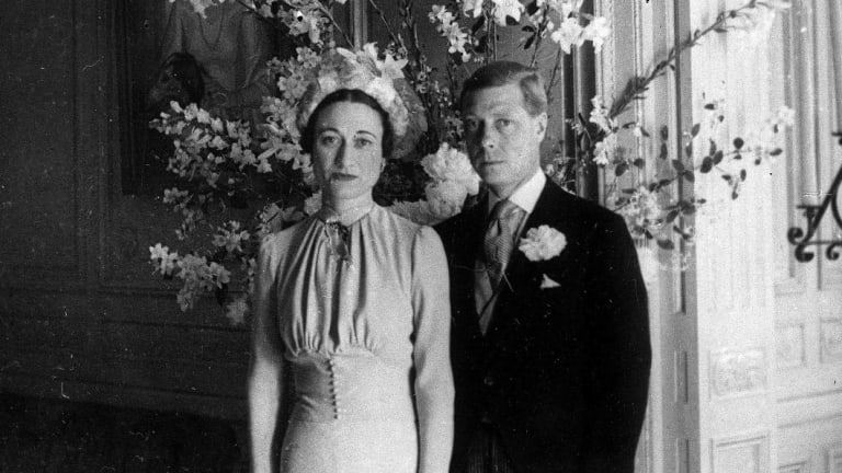 The Duke and Duchess of Windsor pose after their wedding at the Chateau de Cande near Tours, France, in 1937.