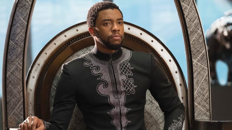 Chadwick Boseman in a scene from Marvel Studios' <i>Black Panther</i>.