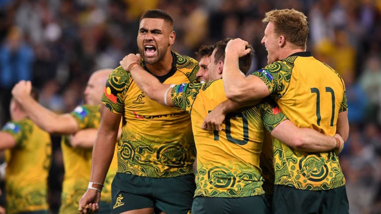 Statement: Australia wore the first indigenous-design Wallabies jersey in the third Bledisloe Cup Test last year.