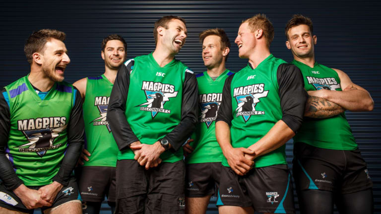 Magpies stalwarts Dom Bunyan, Chris York, James Bennett, Lex Bennett, Ryan Turnbull, and Brenton Joyce.