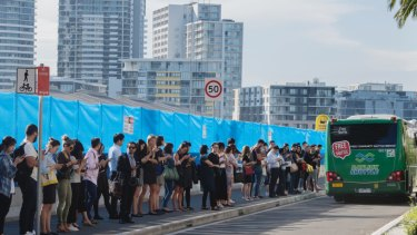 Thousands of people and no public transport: People queue for buses at Wentworth Point.