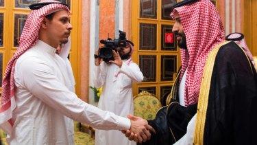 Salah Khashoggi shakes hands with Crown Prince Mohammed bin Salman in Riyadh in October 2018.