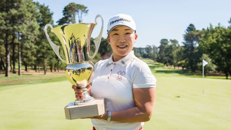 What a champion! Canberra Classic winner Jiyai Shin will donated her prizemoney at this year's tournament to help young golfers.