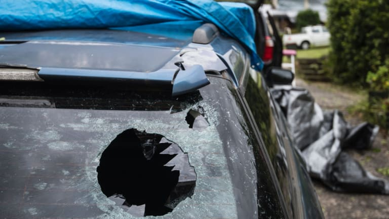 Many homes and vehicles in Berowra Heights sustained damage when a hail storm impacted the area.