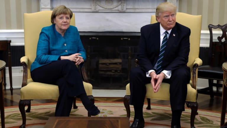 Donald Trump failed to shake Angela Merkel's hand.