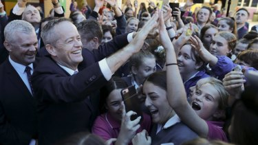Bill Shorten was mobbed by students in Gosford on Monday.