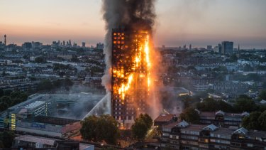 London's Grenfell tower, which was covered in flammable cladding, burns in 2017 killing 72.
