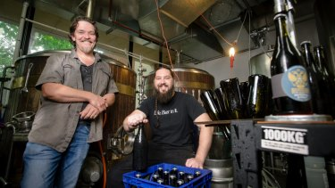 Wig and Pen brewers James Paisley and Justin Wilkes when the brewery started bottling its beer in 2017.