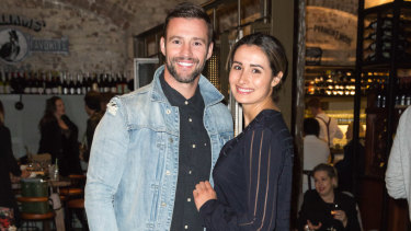 Kris Smith and his pregnant partner Sarah Boulazeris at the launch of Mister Percy on Tuesday.