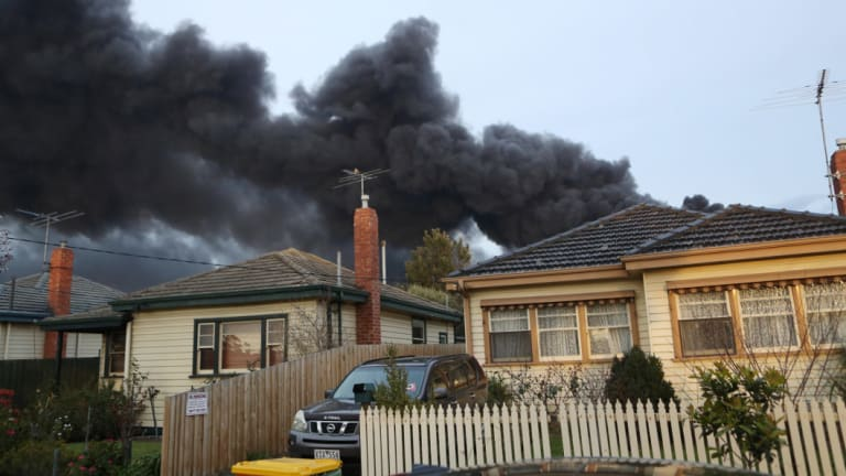 Fire crews battle to control a blaze at a factory in West Footscray, Melbourne.