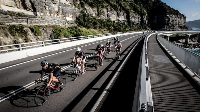 The Sea Cliff Bridge provides a stunning backdrop to the MS Sydney to the Gong bike ride.