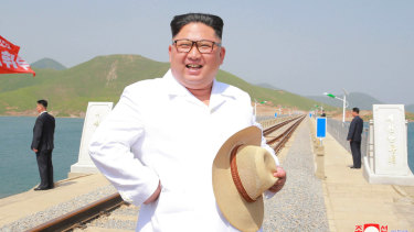 North Korean leader Kim Jong-un inspects the completed Koam-Tapchon Railways in Gangwon-do, North Korea on Friday.